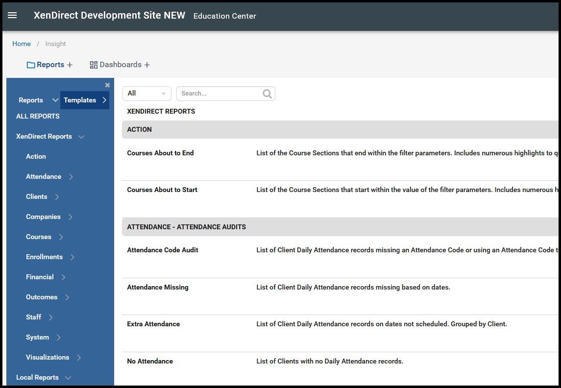 InSight Reporting sample screenshot